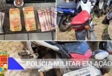 Motos, dinheiro e droga apreendido