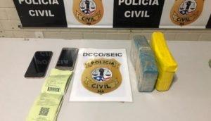 Os 2kg de drogas de origem do Mato Grosso teria como destino Santa Rita