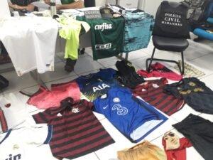 Produtos da loja encontrados com os suspeitos